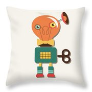 Quirky Retro Wind-up Toy Throw Pillow