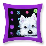 Kiniart Disco Westie Throw Pillow
