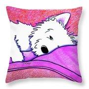 Sleepy Westie Girl Throw Pillow