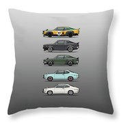 Stack Of Mazda Savanna Gt Rx-3 Coupes Throw Pillow
