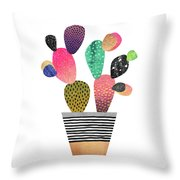 Happy Cactus Throw Pillow by Elisabeth Fredriksson