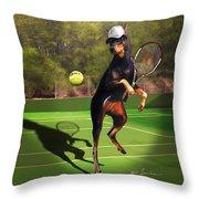 funny pet scene tennis playing Doberman Throw Pillow