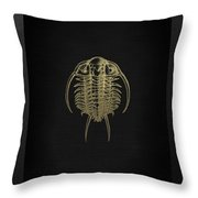 Fossil Record - Golden Trilobite On Black No.2 Throw Pillow