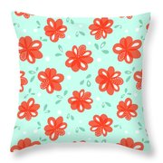 Cheerful Red Flowers Throw Pillow