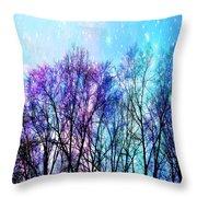 Black Trees Bright Pastel Space Throw Pillow