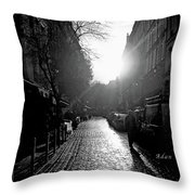 Evening Walk In Paris Bw Throw Pillow