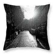 Evening Walk In Paris Bw Squared Throw Pillow