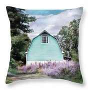 Blue Barn Dreamy Picturesque Landscape Rural Countryside Throw Pillow