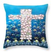 Cross Of Flowers Throw Pillow