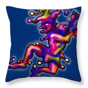 Jester On Blue Throw Pillow