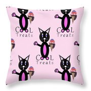 Pink Cool Treats - Cat Typography Throw Pillow