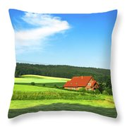 Red House In Field - Amshausen, Germany Throw Pillow