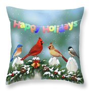 Christmas Birds And Garland Throw Pillow by Crista Forest