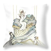 The Princess And The Pea, Illustration For Classic Fairy Tale Throw Pillow