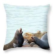 Boisterous Pinnipeds Throw Pillow
