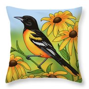 Maryland State Bird Oriole And Daisy Flower Throw Pillow by Crista Forest