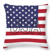 Usa On The American Flag Throw Pillow