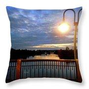 Boat Lights Sunset On Lady Bird Lake Throw Pillow