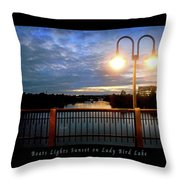 Boat, Lights, Sunset On Lady Bird Lake Throw Pillow