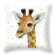 Baby Giraffe Watercolor With Heart Shaped Spots Throw Pillow