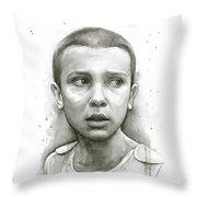 Stranger Things Eleven Upside Down Art Portrait Throw Pillow
