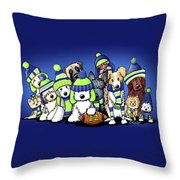 12 Dogs On Blue Throw Pillow