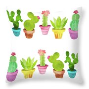Cactus Plants In Pretty Pots Throw Pillow