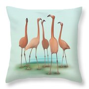 Flamingo Mingle Throw Pillow