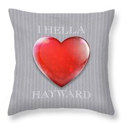 I Hella Love Hayward Ruby Red Heart On Gray Flannel Throw Pillow