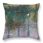 Swan On Town Lake - Now Lady Bird Lake Throw Pillow