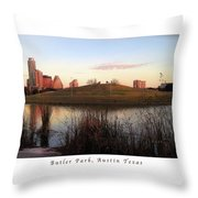 Birds And Fun At Butler Park Austin - Silhouettes 1 Poster And Greeting Card Throw Pillow