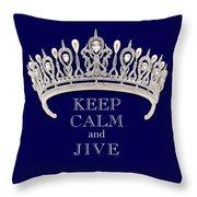 Keep Calm And Jive Deep Blue Diamond Tiara Throw Pillow