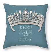 Keep Calm And Jive Diamond Tiara Turquoise Texture Throw Pillow