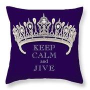 Keep Calm And Jive Diamond Tiara Deep Purple  Throw Pillow