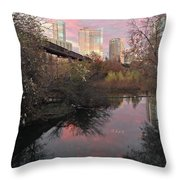 Austin Hike And Bike Trail - Train Trestle 1 Sunset Triptych Right Throw Pillow
