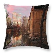 Austin Hike And Bike Trail - Train Trestle 1 Sunset Triptych Middle Throw Pillow