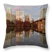 Austin Hike And Bike Trail - Train Trestle 1 Sunset Triptych Left Throw Pillow
