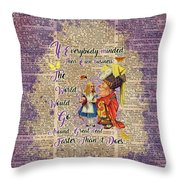 Alice With The Duchess Vintage Dictionary Art Throw Pillow