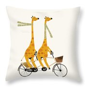 Lets Tandem Giraffes Throw Pillow