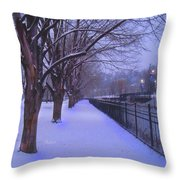 Evening Snow Path At Waterfront Park Burlington Vermont Throw Pillow