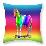 Colorful Rainbow Paint Horse Throw Pillow