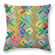 Colorful X-pattern  Throw Pillow