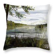 Quiet Day By Lake Throw Pillow