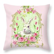 Spring Bunny Throw Pillow by Wendy Paula Patterson