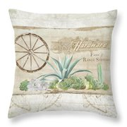 Western Range 4 Old West Desert Cactus Farm Ranch  Wooden Sign Hardware Throw Pillow