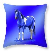 Royal Blue Wet Paint Horse Throw Pillow