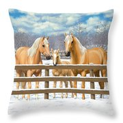 Palomino Quarter Horses In Snow Throw Pillow by Crista Forest