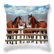 Bay Quarter Horses In Snow Throw Pillow