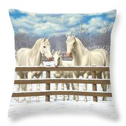 White Quarter Horses In Snow Throw Pillow by Crista Forest