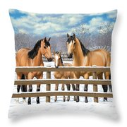 Buckskin Quarter Horses In Snow Throw Pillow by Crista Forest